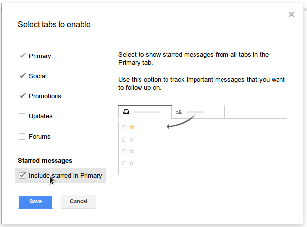 gmail options popup